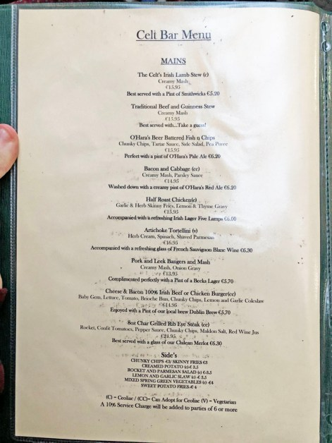 the celt bar menu
