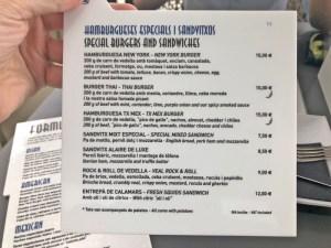 menu Terraza Alaire