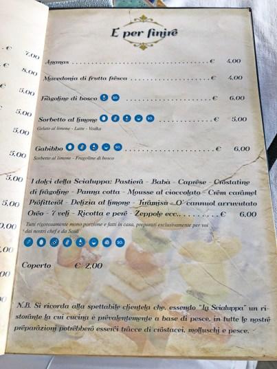 menu la scialuppa napoli