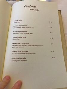 menu ristorante panorama capri