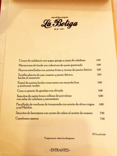 menu la botiga restaurante