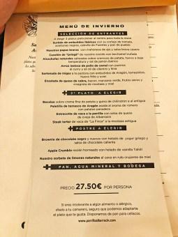 menu parrilla albarracín