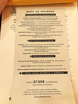 menu parrilla albarracín