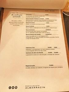 menu restaurante parrilla albarracín zaragoza