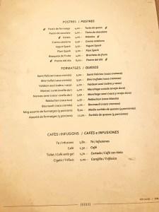 menu restaurante spark