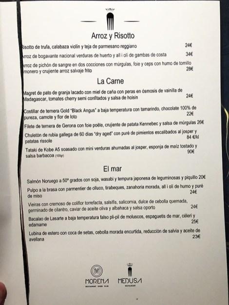 menu carta medusa y morena restaurante