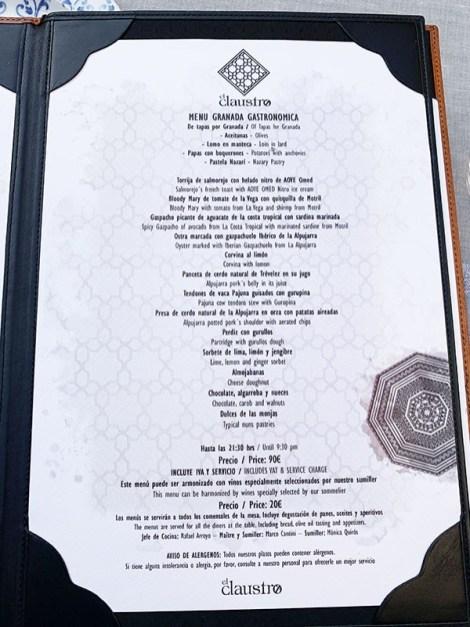 menu el claustro granada
