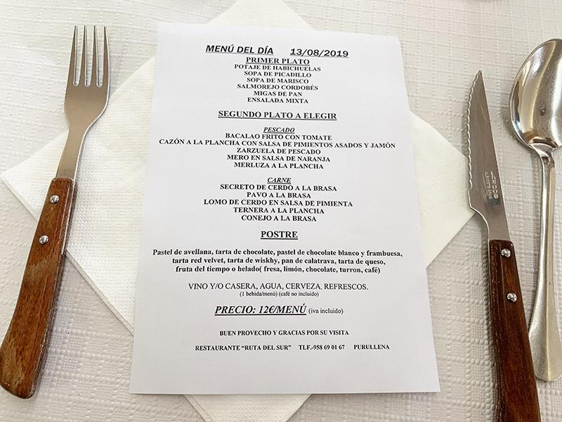 menu carta ruta del sur purullena