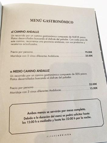 menu restaurante arriaga