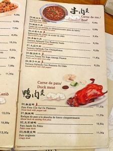 carta platos yue lai barcelona