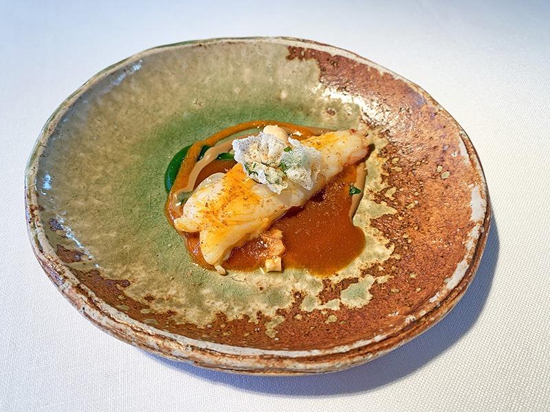 el celler de can roca menu degustación platos principales 2020 Cigala con salsa de sobrasada, velouté de cigala, gelée de perejil.