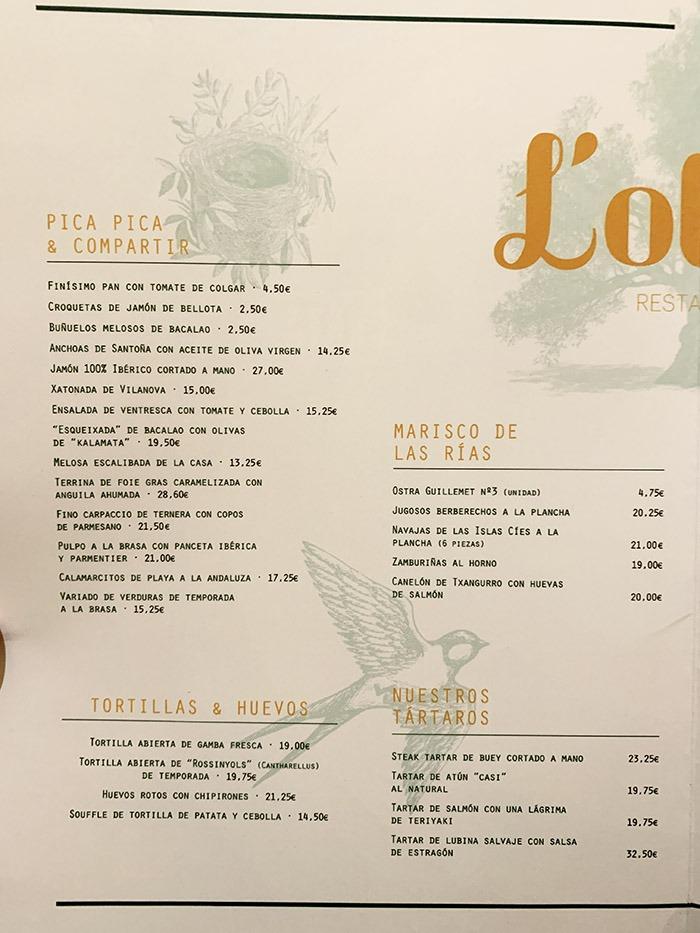 menu y carta del restaurante L'Olivé