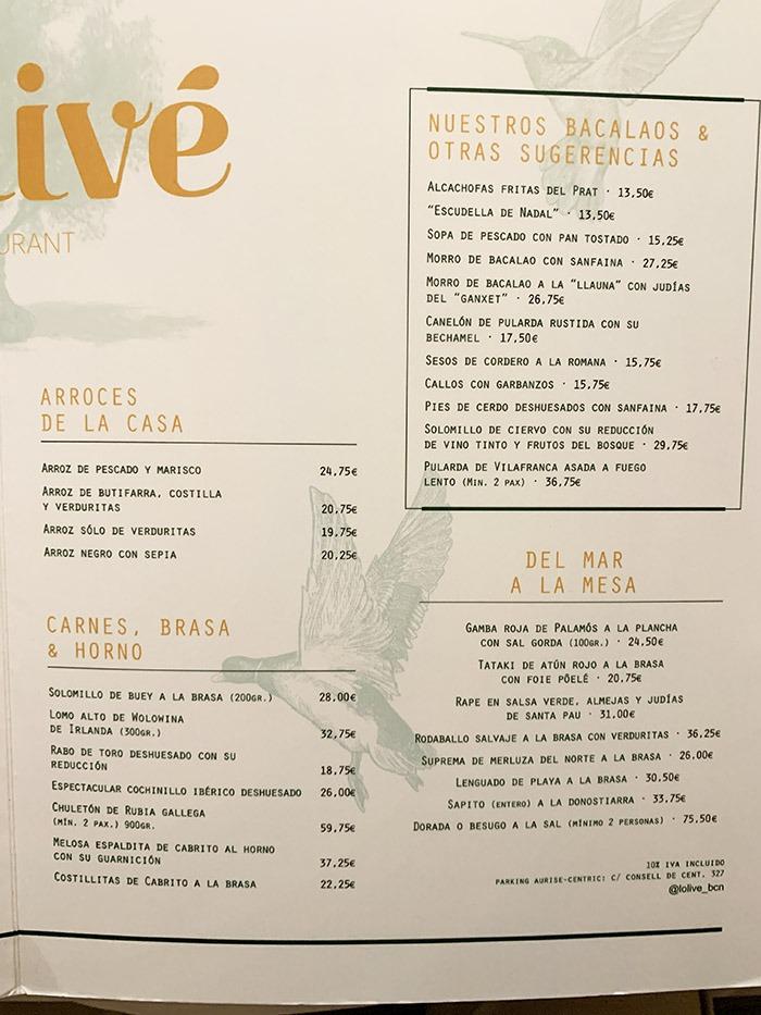 menu restaurante L'Olivé