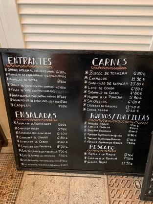 menu comidas bar san juan