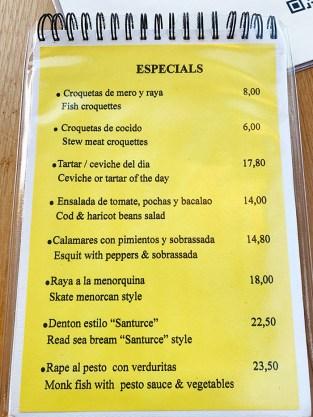 menu restaurante Arjau Mahón