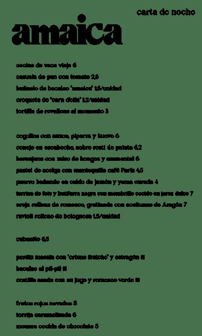 Carta Amaica Restaurante