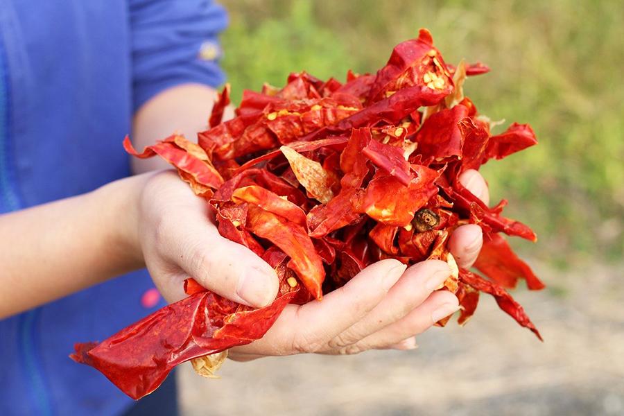 Pimiento Rojo en la cocina de Hunan.