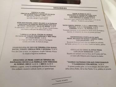 carta del restaurante malpaso