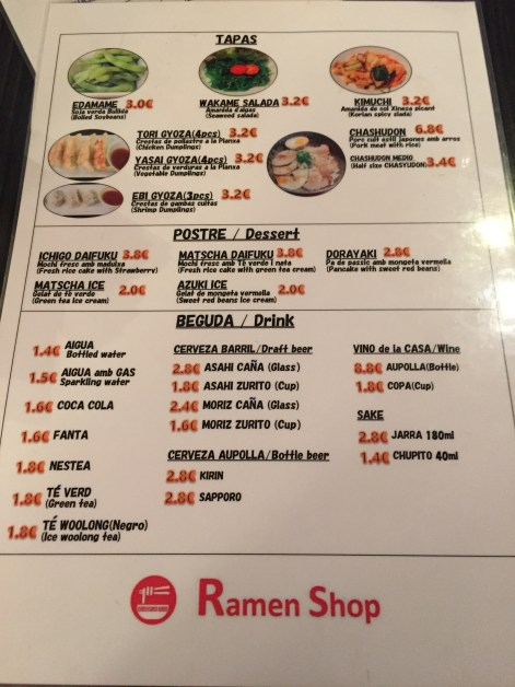 menu del ramen shop