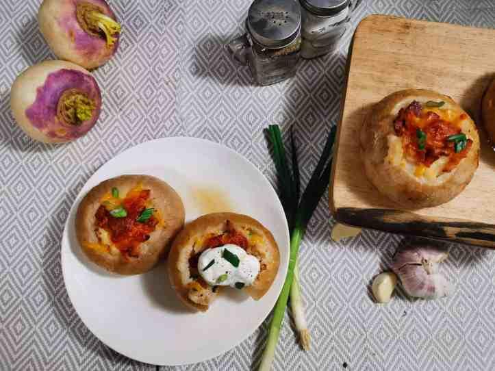 Twice baked turnip flatlay