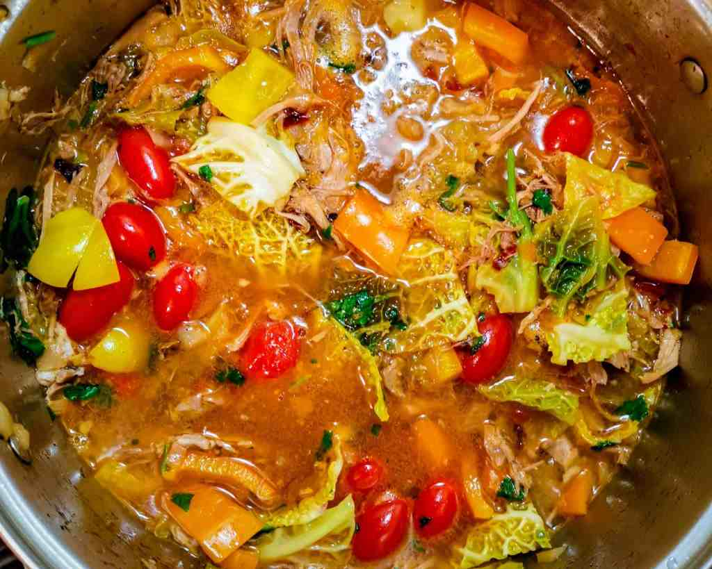 Low carb Ajiaco Soup cooking in a pot