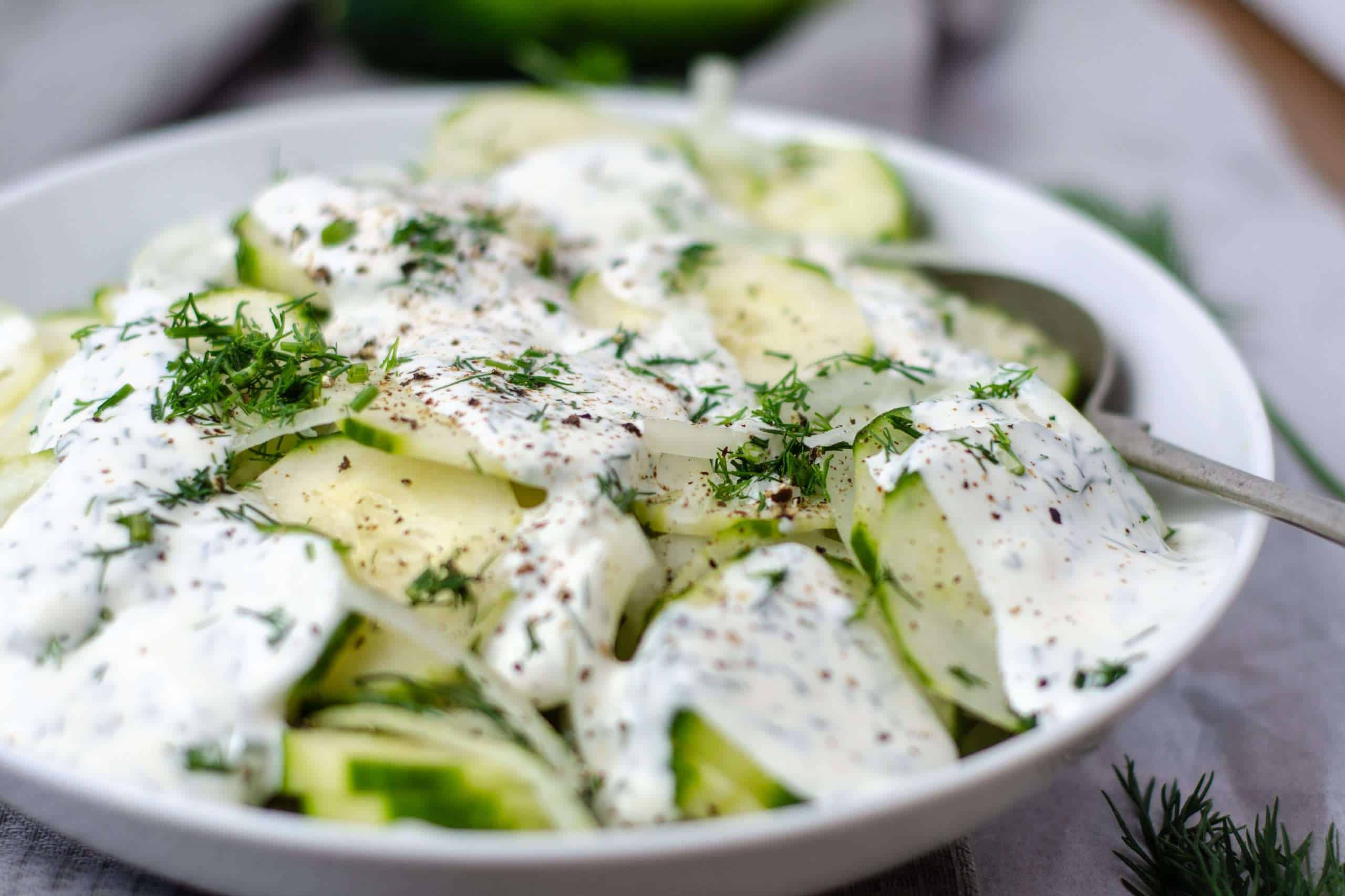 Creamy Keto cucumber Salad dressed in a bowl