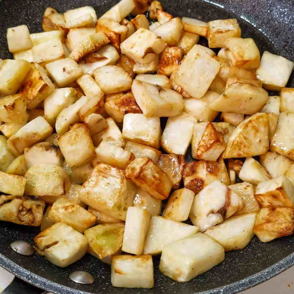 Pan Fried Celeriac for low carb aloo bhaji