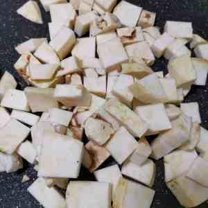 Raw celeriac cut into bite size pieces