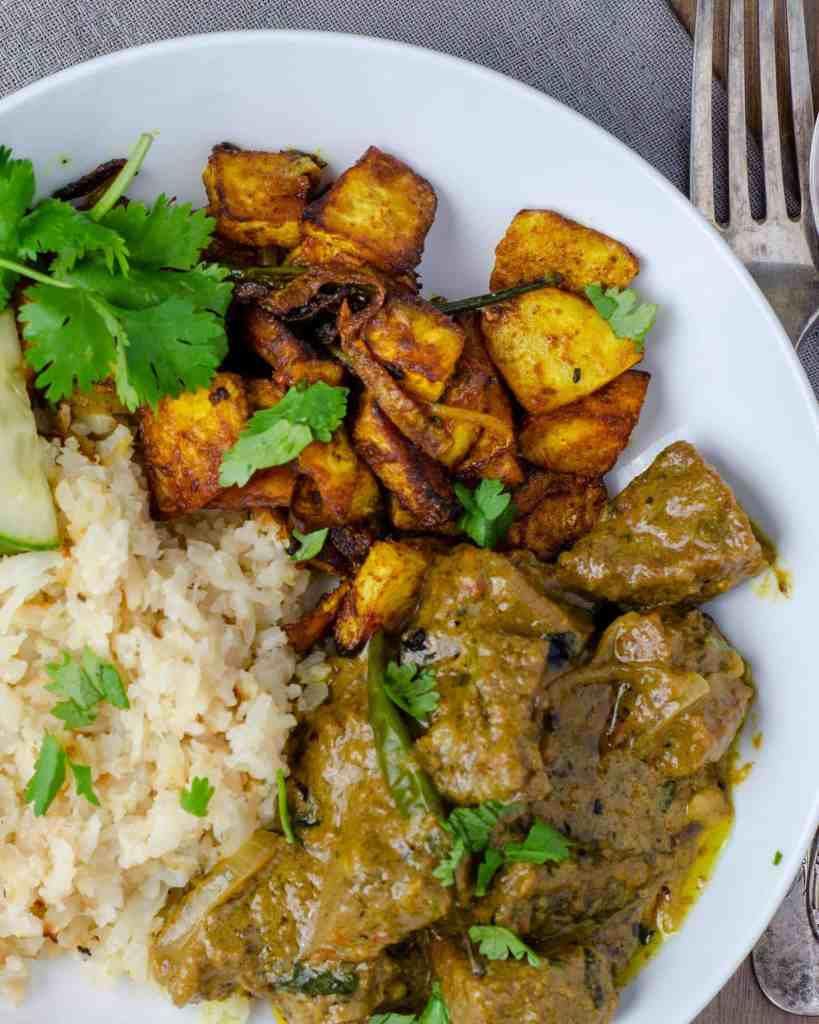 Celeriac Bhaji with Beef Korma and Cauliflower rice