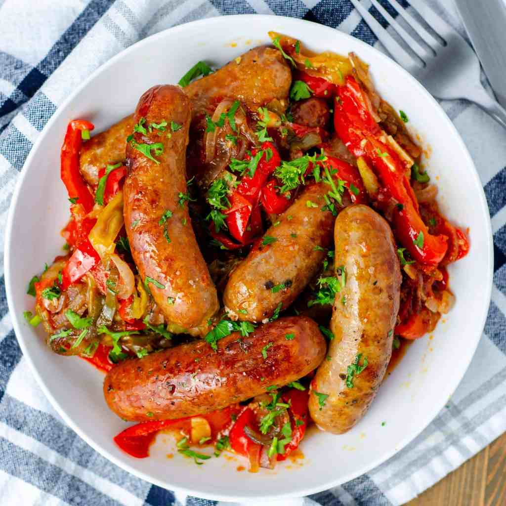 Oven Braised Keto Sausage and Peppers