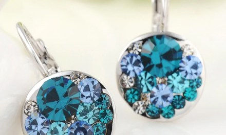 Free Blue Round Stone Earrings