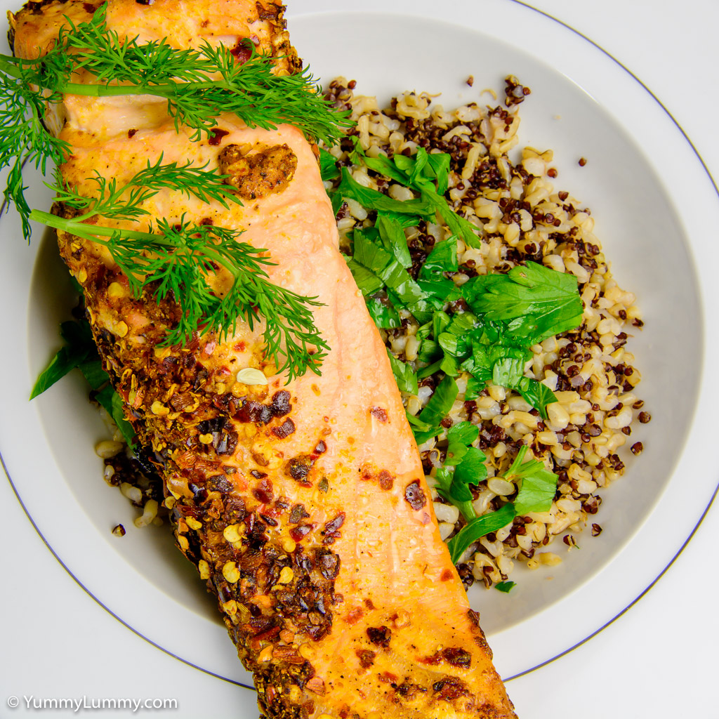 Baked Salmon With Rice And Quinoa
