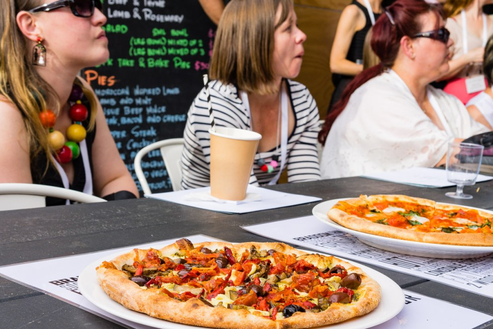 This is a photograph of pizza at The Hamlet as Eat Drink Blog 6 opens