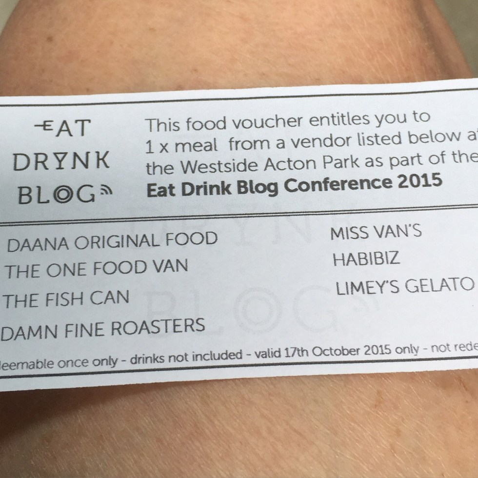 This is a photograph of the Lunch voucher for Saturday at Eat Drink Blog 6 on my thigh