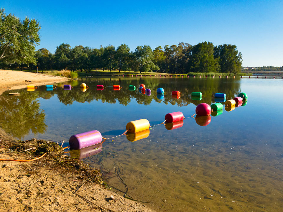Colourful buoys on Lake Ginninderra at Yerra Beach, Gary Lum