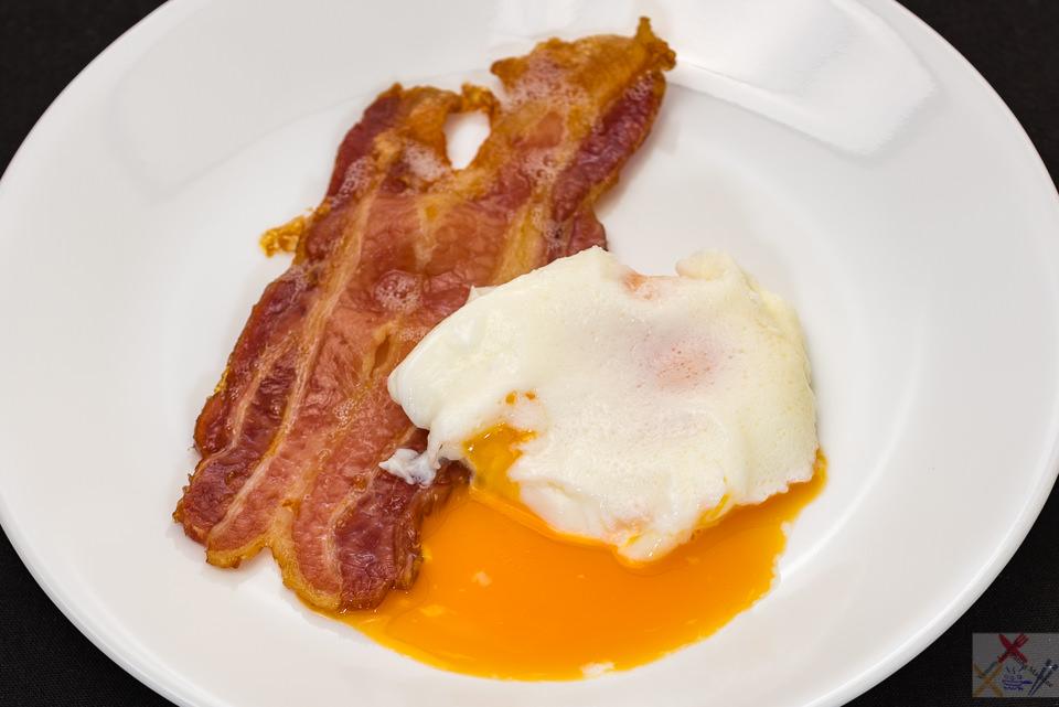 Poached egg fail with crispy streaky bacon, Gary Lum