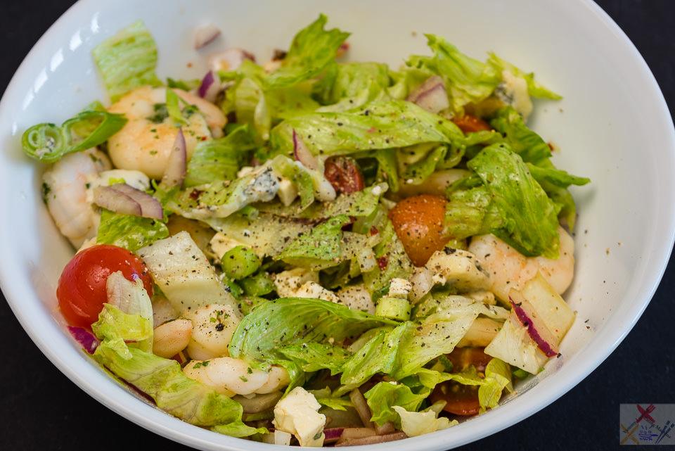 Saturday dinner. Prawns and summer salad. Gary Lum