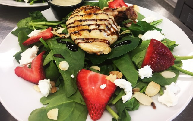 Chicken Spinach and Strawberry salad