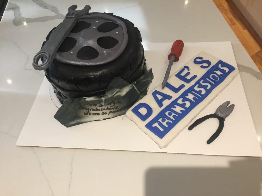Custom cake for a local business