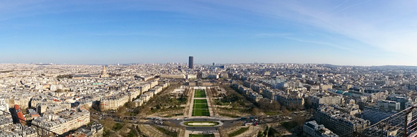 The city of Paris, as seen from the iconic Eiffel Tower.