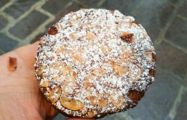 Meet the round bostock - a brioche slice topped with frangipane and sliced almonds.