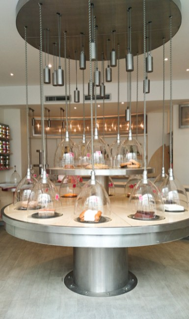 The store's display is very modern and innovative, does not feel like a bakery at all!