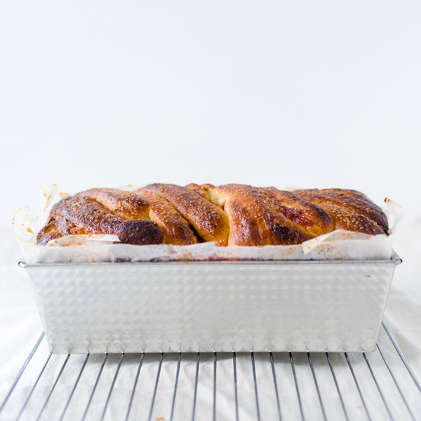 Vanilla Orange Rhubarb Brioche Loaf