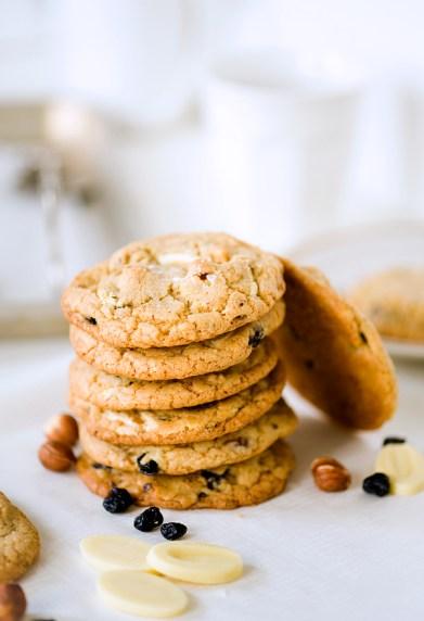 White Chocolate Hazelnut Blueberry Cookies