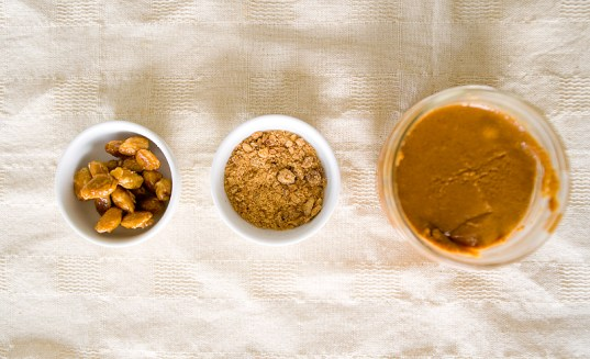 Almond praline paste in its three stages.