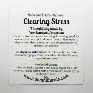 Yum Naturals Emporium - Bringing the Wisdom of Nature to Life - Clearing Stress Tisane Blend