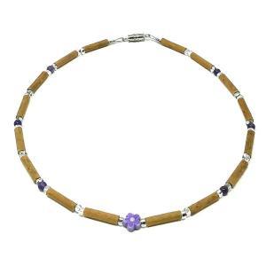 YumNaturals Emporium - Bringing the Wisdom of Mother Nature to Life - Amethyst Gemstone & Purple Flower Hazelwood Necklace for Babies & Children_1