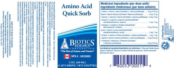 YumNaturals Emporium - Bringing the Wisdom of Nature to Life - Biotics Research Amino Acid Quick-Sorb Label