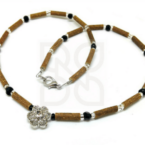 YumNaturals Emporium and Apothecary- Bringing the Wisdom of Mother Nature to Life - Black & Clear Hazelwood Necklace with Flower