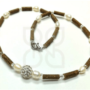 YumNaturals Emporium and Apothecary- Bringing the Wisdom of Mother Nature to Life - Hazel Wood Necklace with Pearls and Shamballa for Adults